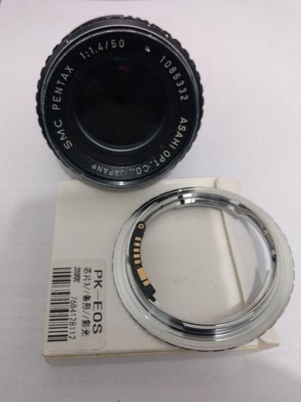 Pentax 50mm - F1.4 + Adapt. P Canon Eos Com Chip
