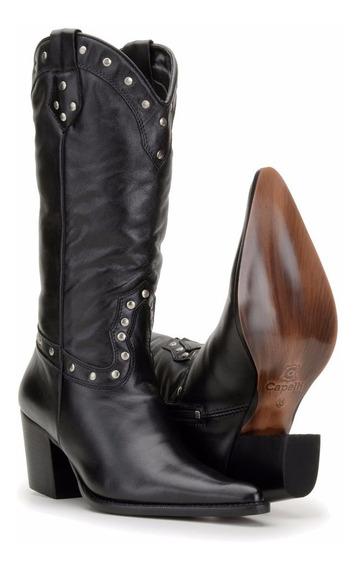 Bota Feminina Texana Country Couro Montaria Capelli Boots Pt