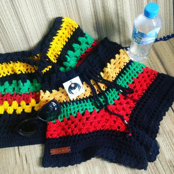 Short Em Crochê Jamaica Cores Do Reggae