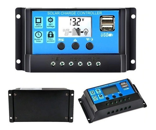 Controlador Carga De Painel Solar 10a Regulador Com Lcd Usb