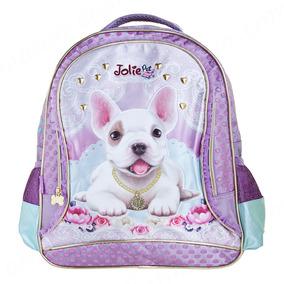 Mochila Costas Infantil Jolie Pets Puppy Média Roxa