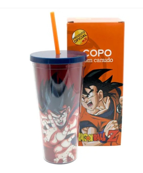 Kit 2x Copos Com Canudo Simbolo Goku 650ml Dragon Ball