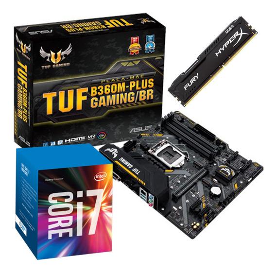 Kit Intel I7 9700f + Tuf B360m Plus Gaming + Hx 16 Gb 2666