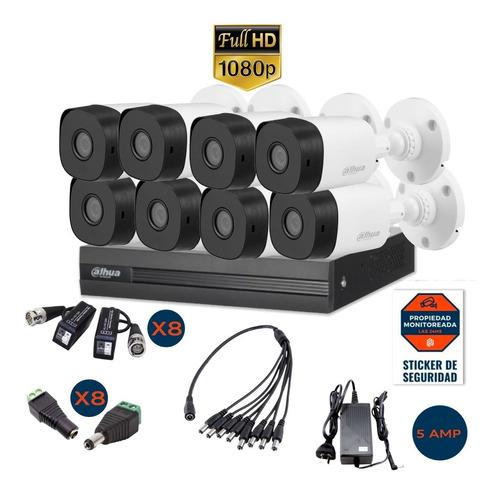 Imagen 1 de 10 de Kit 8 Camaras Seguridad 1080p Ext + Dvr Dahua 8 Canales P2p