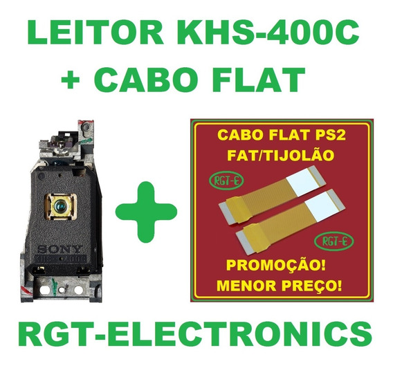 Kit Leitor Unidade Óptica Khs 400c 400 Ps2 Fat + Cabo Flat