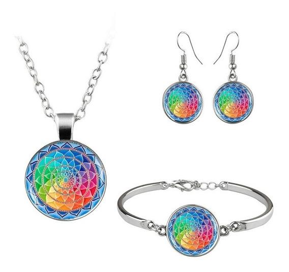 Conjunto 3 En 1 Collar Pendientes Y Pulsera Mandala Colores