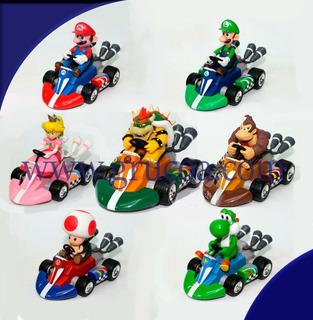Figurillas De Colección Mario Kart Pull Back Racers