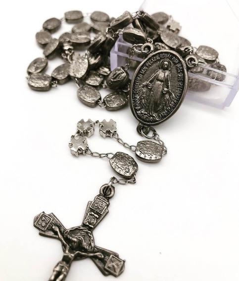 Terço Contas De Metal Nossa Senhora Das Graças