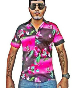 Camisa Masculina Slim Fit Floral Manga Curta Algodão Elastan