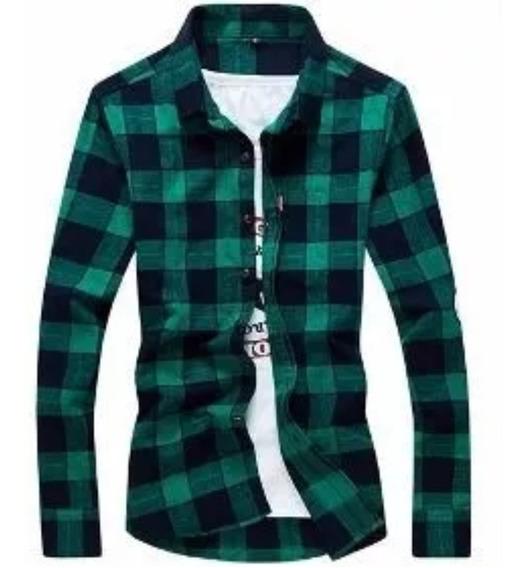 Camisas Entalladas Escocesa Hombre Originales Verano