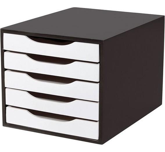 Caixa Arquivo Em Mdf Black Piano Com 5 Gavetas Brancas Souza