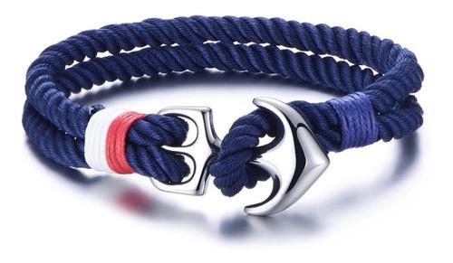 Pulsera Azul De Ancla Acero Inoxidable Para Hombre Premium