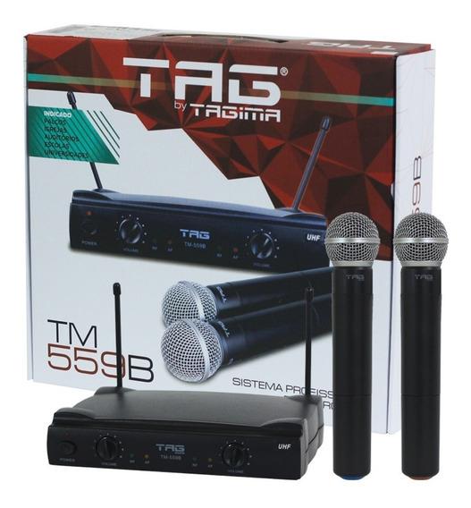 Microfone Sem Fio Duplo Preto Tag Sound Uhf Tagima Palco