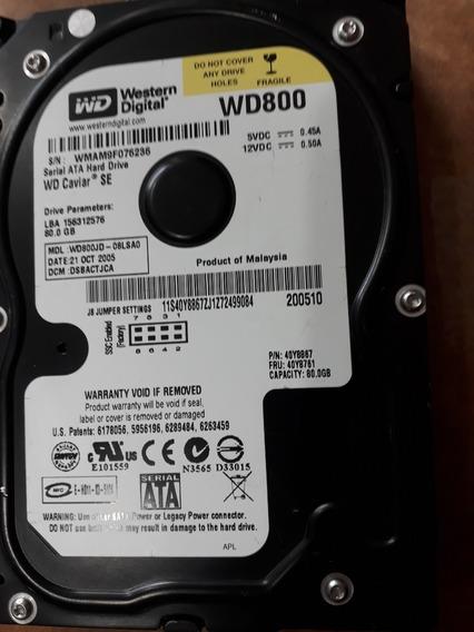 Hd Sata Western Digital Wd800jd 80gb Wd800 Wmam9f076236