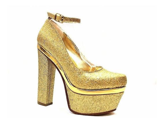 Zapato Vestir Glitter Taco Palo Art 14560/p. Marca Bonzini