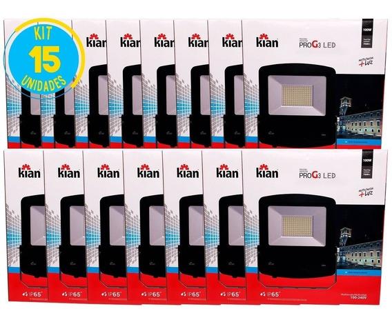 Refletor Led 100w 7500lm Bivolt Geração 3 Kian Kit 15 Unid