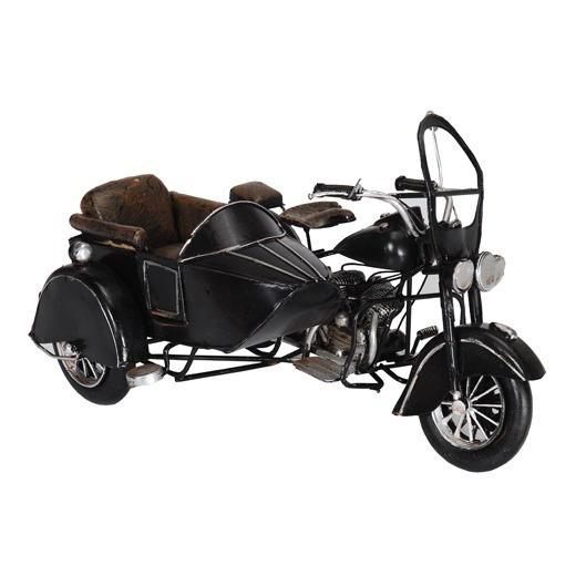 Moto Sidecar Metal Negra Miniatura Coleccion