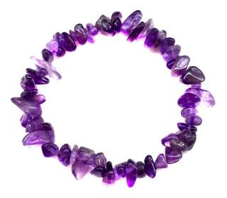 Pulseira Cascalho Ametista Roxa Pedra Cristal Natural 918