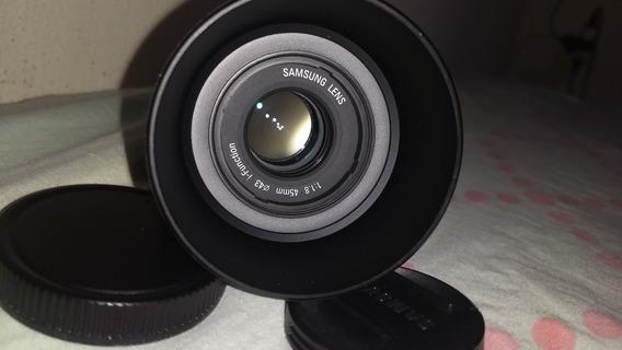 Lente Samsung Nx 45 F1,8 Como Nova Para Sol E Tampas Saquinh