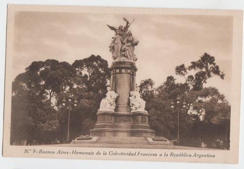 Buenos Aires Postal Antigua Homenaje Colectividad Francesa