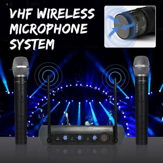 Dual Handheld Microfones Sem Fio Vhf Dinâmico 2 Canais Mistu