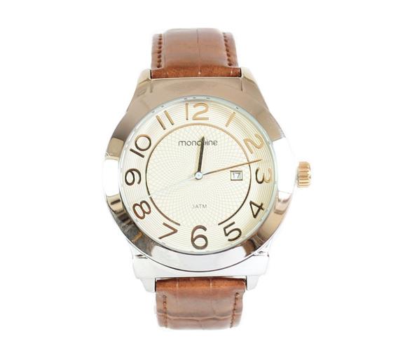 Relógio Original Mondaine Pulseira De Couro Prateado C/ Nota