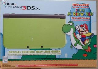 New Nintendo 3ds Xl Verde Lima Americana + Juegos Digitales