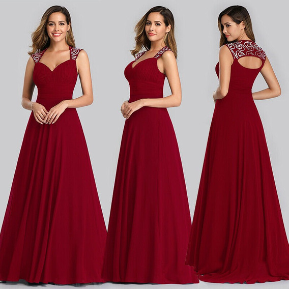 Vestido De Quince-fiesta- Egreso Bordó Talle Xs (mod.57)