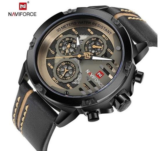 Relógio Masculino Couro Luxo Naviforce Original