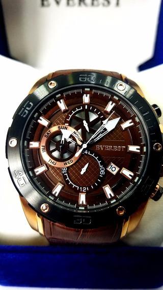 Everest Relógio Masculino Couro Á Prova D´água C/ Garantia 1