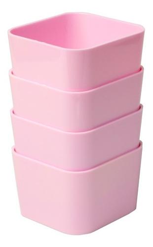 Porta Objetos Pequeno Kit C/ 4 Peças Rosa