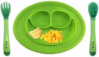 Tazón De Silicon Plato Antideslizante Para Bebés.(verde)