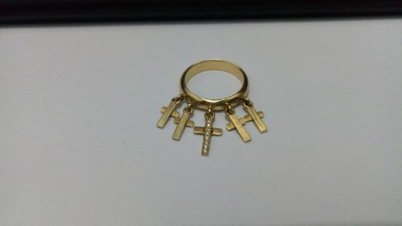 Anel De Ouro Com 5 Pendentes Um Com Diamantes