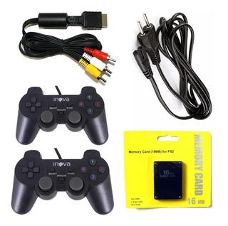 Kit Ps2 Gamer Slim 2 Controles + Cabo Av + Memory Card Play 2 + Cabo Força Playstation 2