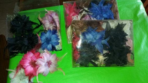 Colitas De Pelo Con Aplique De Flores Por Docena