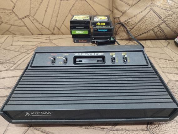 Atari 2600 Original, 2 Controles E 10 Cartuchos De Jogos