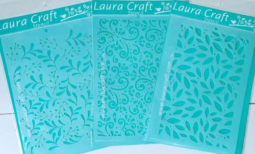 Stencil Laura Craft Fondos De Hojas Y Arabescos