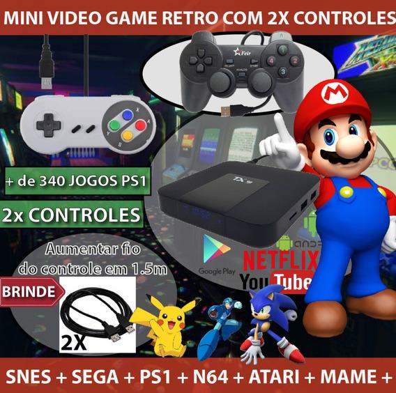 Mini Video Game Retro + 1 Controle Ps + 1 Super Nintendo +++