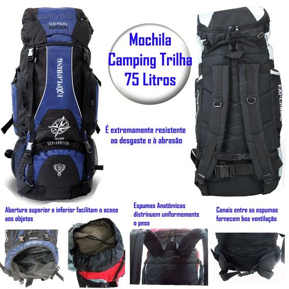 Mochila Camping Trilhas Viagem Azul 75 L Da Clio Mc3102