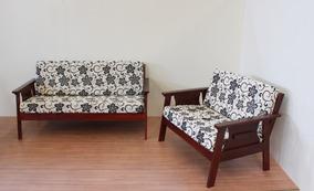 Conjunto De Sofá Em Madeira 3+2 Lugares, Almofadas Espuma