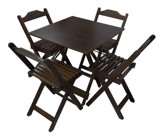 Conjunto Bar Dobrável Mesas Com 4 Cadeiras De Madeira Jogo