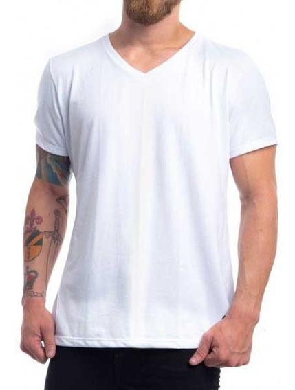 Camiseta Básica Branca Gola V Masculina Uniforme Algodão