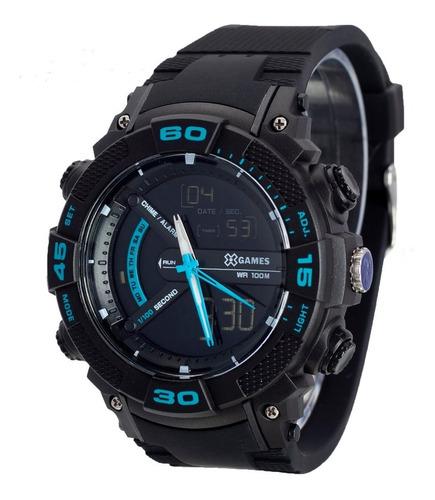 Relógio X-games Masculino Anadigi Xmppa278 Preto Azul