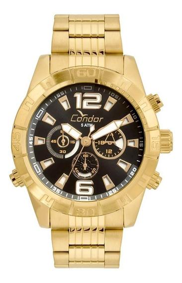 Relógio Masculino Condor Redondo Civic Dourado Analógico Grande Covd54aw/4p + Nota Fiscal E Garantia 1 Ano