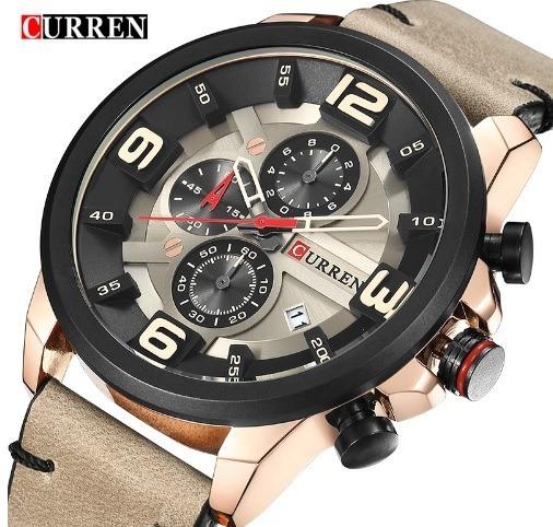 Relógio Masculino Curren Pulceira De Couro Original