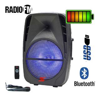Parlante Portatil 8 Pulgada Bateria Usb Bluetooth Fm Mic Luz