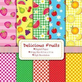 Kits Imprimibles Papel Digital Fondos Delicious Fruits Ppp