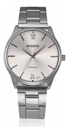 Relógio De Pulso Masculino Migeer 8013 Em Aço Inox Luxo