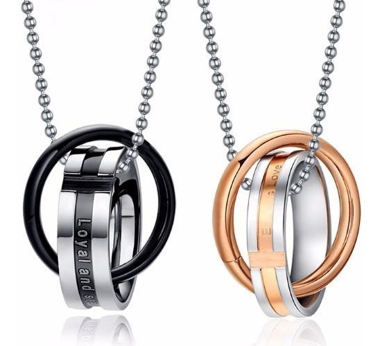 Colar Duplo Anéis Para Namorados Casais Em Aço Inoxidável