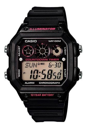 Reloj  Casio Ae-1300wh-1a2  Para Hombre Negro Con Purpura